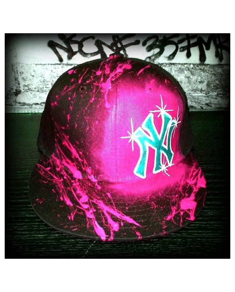 Casquette New York Rose Et Noir