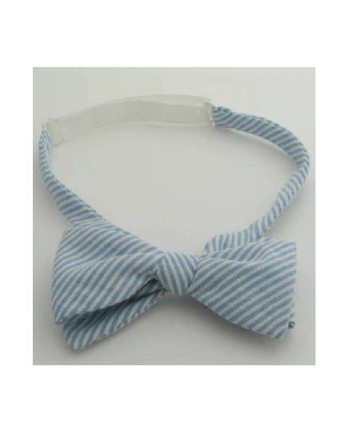 A Blue Stripe Bow Tie