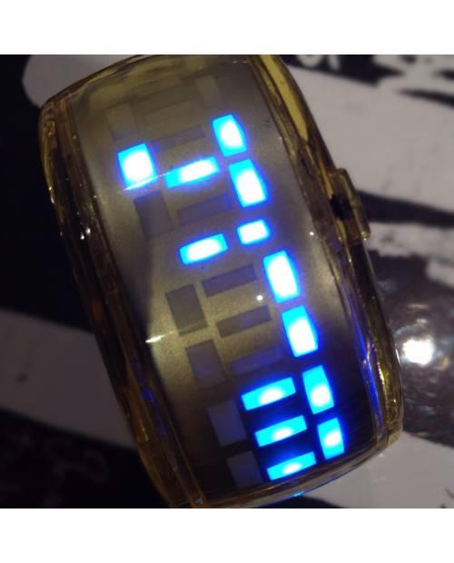 Montre Bracelet Jaune Led Bleu