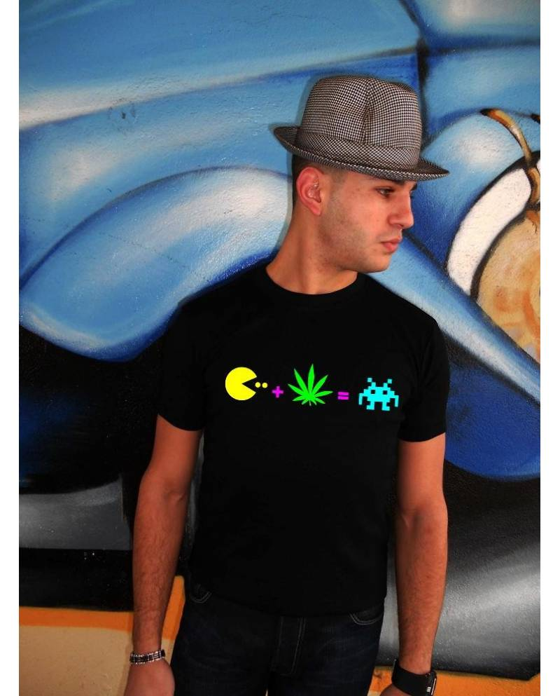 Tee Shirt Pacman Heart JacKing Fluo / Noir