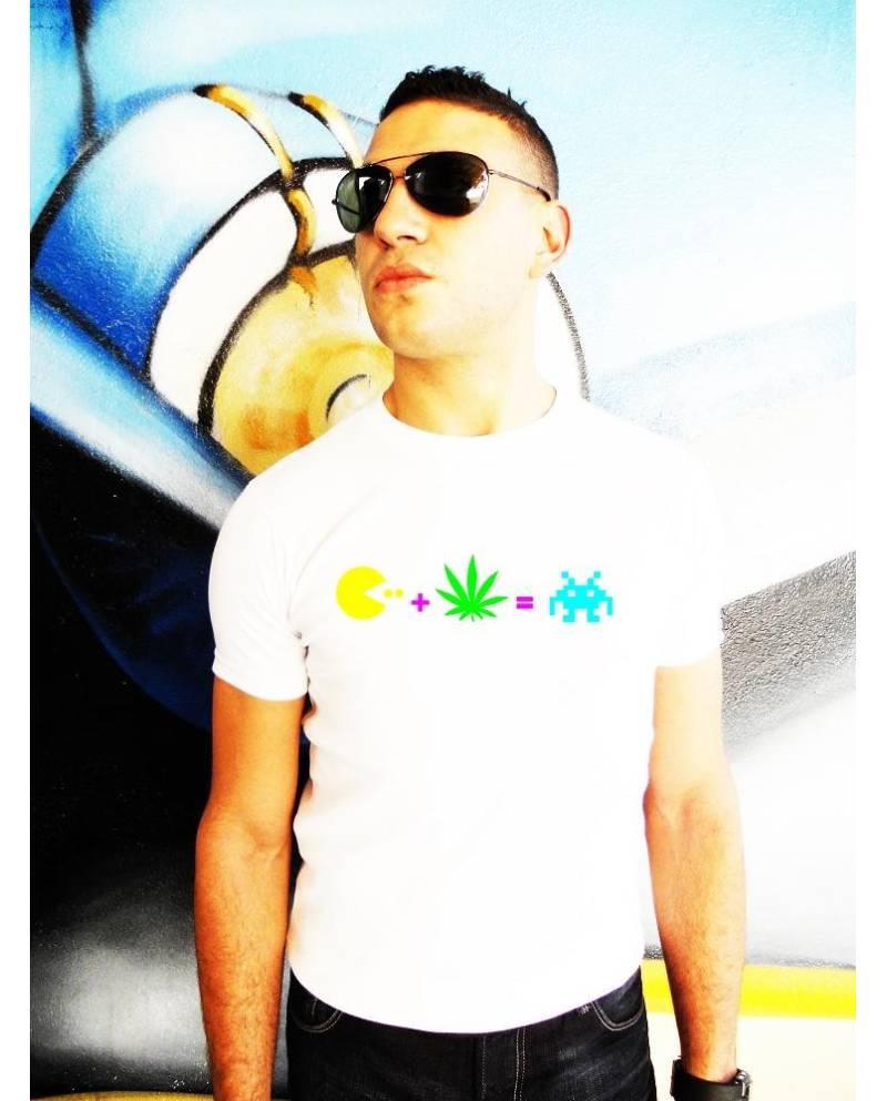 Tee Shirt Pacman Heart JacKing Fluo / Blanc