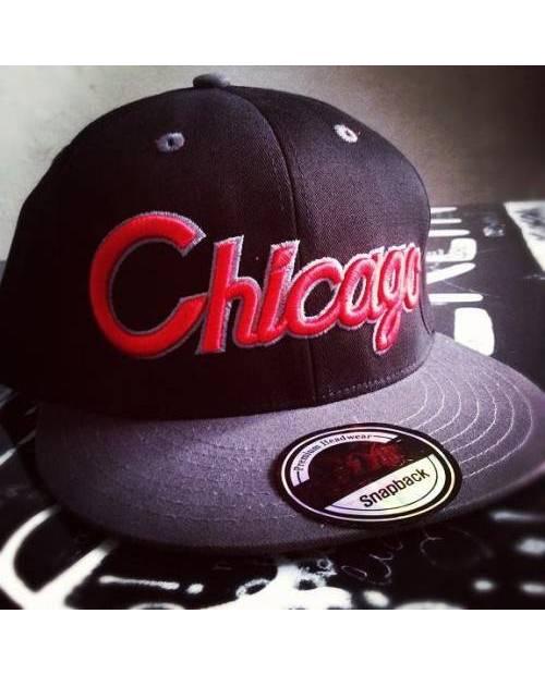 Casquette Americaine Chicago Noir Rouge