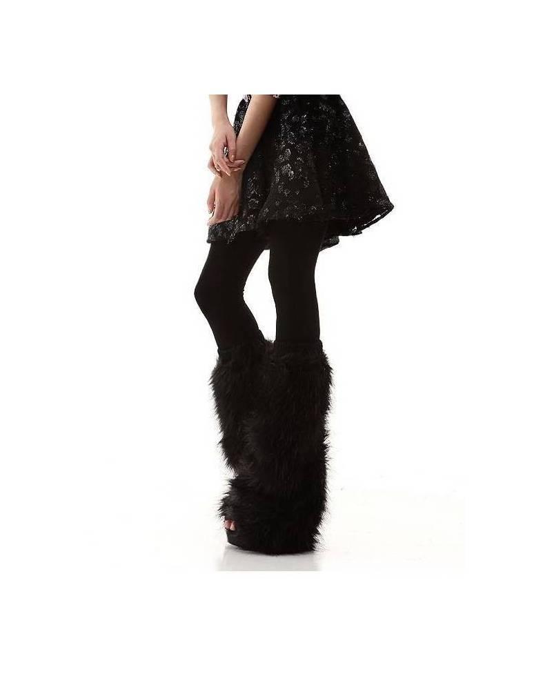 chaussettes hautes noires fourrure. Black Bedroom Furniture Sets. Home Design Ideas