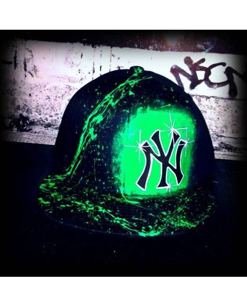 Casquette NY Noire Et Verte