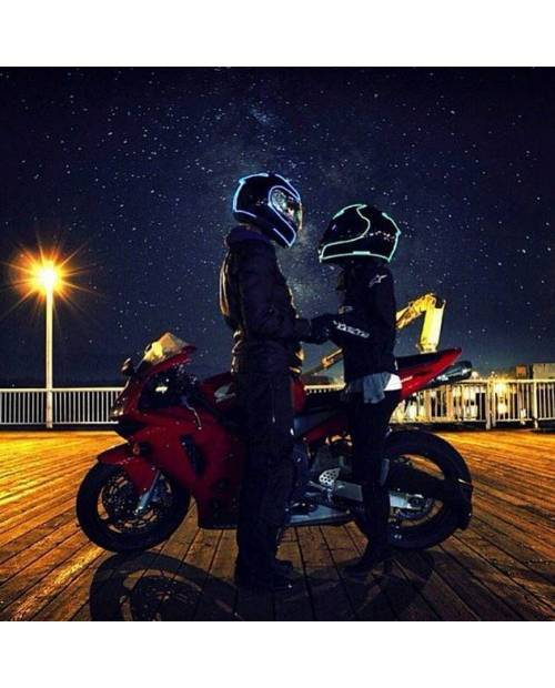 "Casque Moto Lumineux ""Tron Proton"""