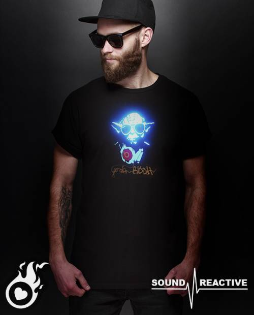 T Shirt Yoda Animé LED Equalizer Ⓡ