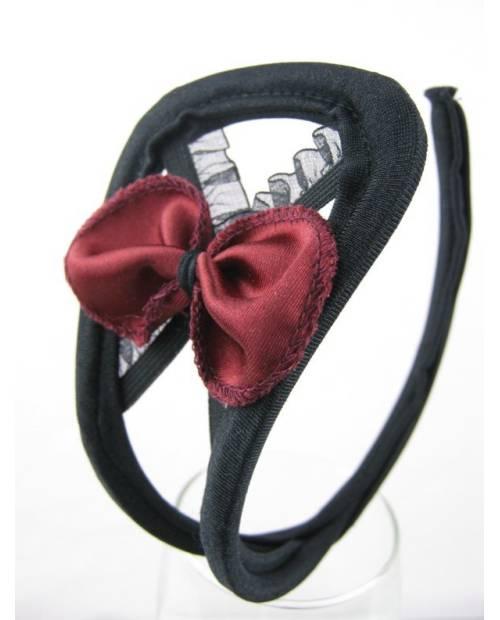 C String Noir noeud rouge