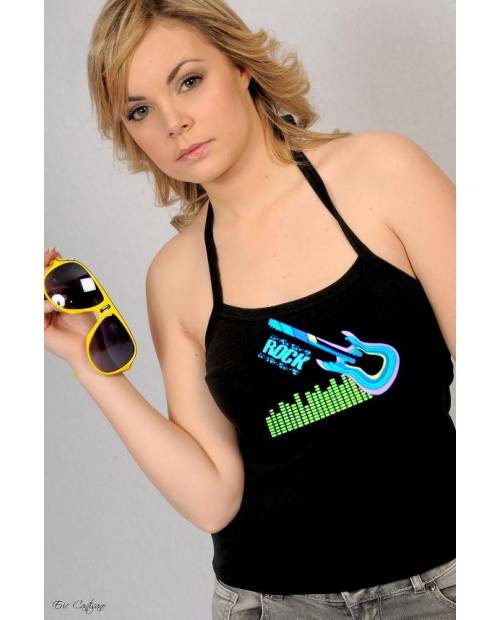 T Shirt electroluminescent Guitar Woman