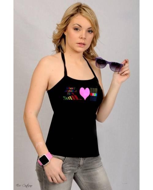 Tee Shirt Lumineux Pink Heart Femme
